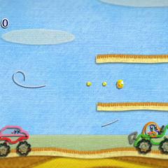Kirby con forma de todoterreno junto a un Bolidostil.