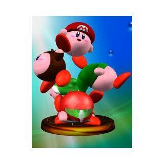 Trofeo de Melee donde se ve a Mario Kirby.