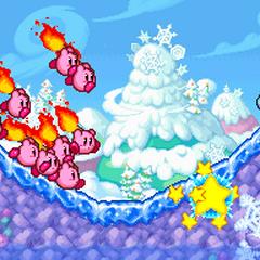 Varios Kirbys con palos en llamas.