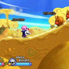 Kirby montando sobre Meta Knight.