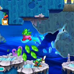 Kirby usando su habilidad Hoja contra un enemigo.