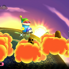Kirby usando una gran bota para saltar entre las nubes.