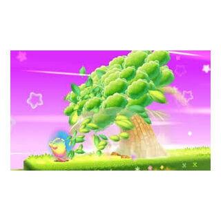 kirby absorbiendo un árbol con la habilidad hipernova