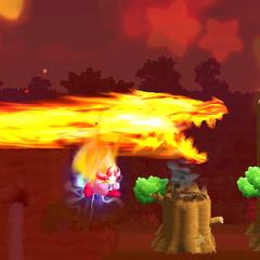 Kirby a punto de usar el super ataque de la habilidad Llama.