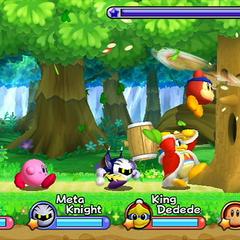 Kirby, Meta Knight, Waddle Dee y el Rey Dedede luchando en cooperativo contra Whispy Woods.