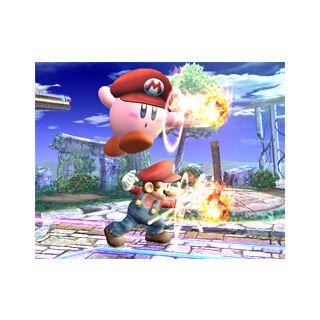 Mario Kirby y Mario lanzando bolas de fuego.