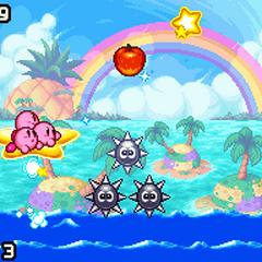 Varios Kirbys usando una estrella para navegar por el mar.