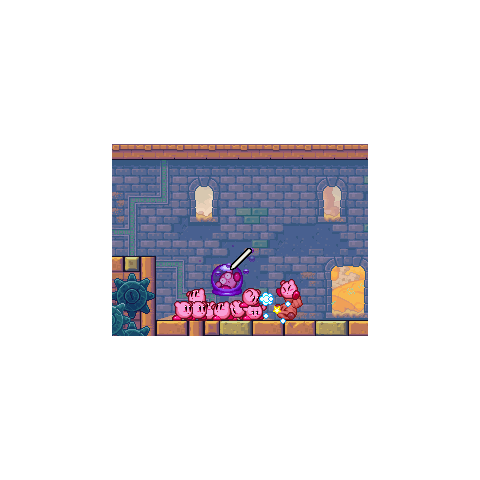 Un Kirby encapsulado por la bola de veneno de Brotimomia.