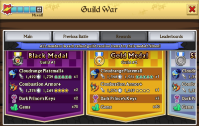 Guild war rewards screen
