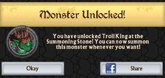 Troll King unlocked at Summoning Stone