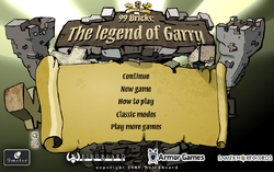 99 Bricks the Legend of Garry Main Menu