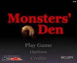 Monster's-Den-title-screen