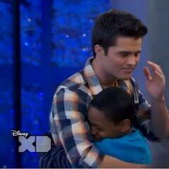 Leo hugs Adam