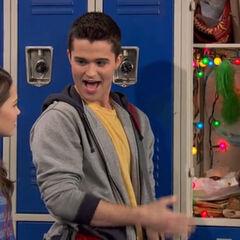 Adam showing his locker