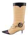 Chanel - Quilted pearl chained boot