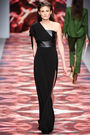 Osman Fall Winter 2012 Black one shoulder leather bodice thigh high cut dress