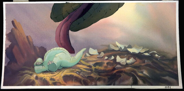 File:Land Before Time DON BLUTH Animation Production Cel hand-painted Color Key RARE!.jpg