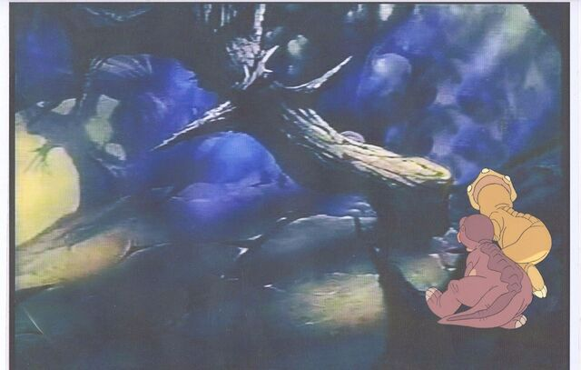 File:Land Before Time Original Production LITTLEFOOT & CERA Cel & Copy Bkgd -A039.jpg