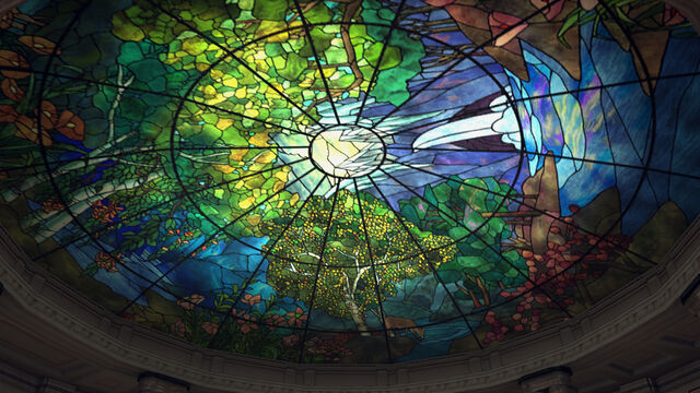 File:Hall of Records 7 - The stained glass roof without the chandelier.jpg