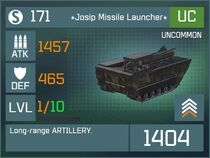 Josip Missile Launcher UC Lv1 Front