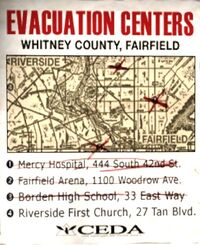 Sign evacuation notice centers