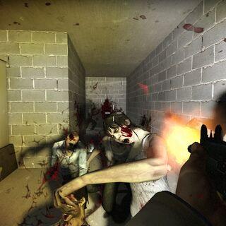 Nick matando varios infectados con el arma
