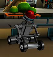 Robot Mower at Red Blocks