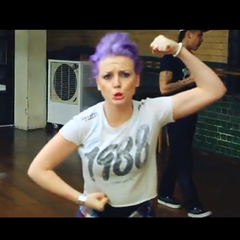 Perrie's wavy purple french twist, upso hairstyle