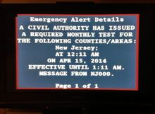 Required Monthly Test of Emergency Alert System in New Jersey EAS