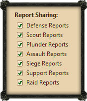 Report sharing options frame