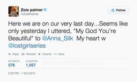Zoie Palmer (Season 5 Last Day) tweet
