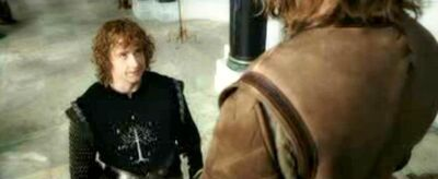Pippin having conversation with Faramir