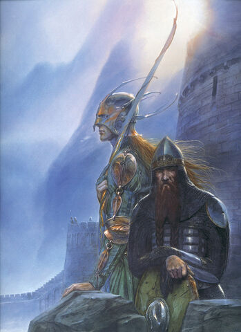 File:John Howe - Legolas and Gimli at Helm's Deep.jpg