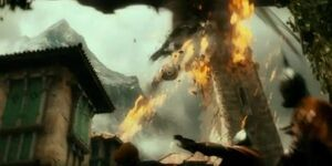 Smaug attacking Dale