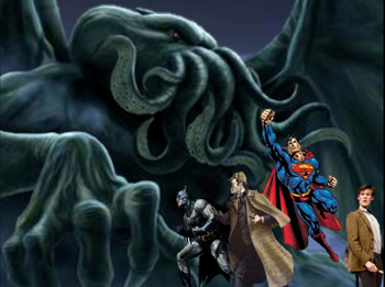 Batman, Superman, Sherlock Holmes, and the Doctor Battling a Ctulhu on Krypton