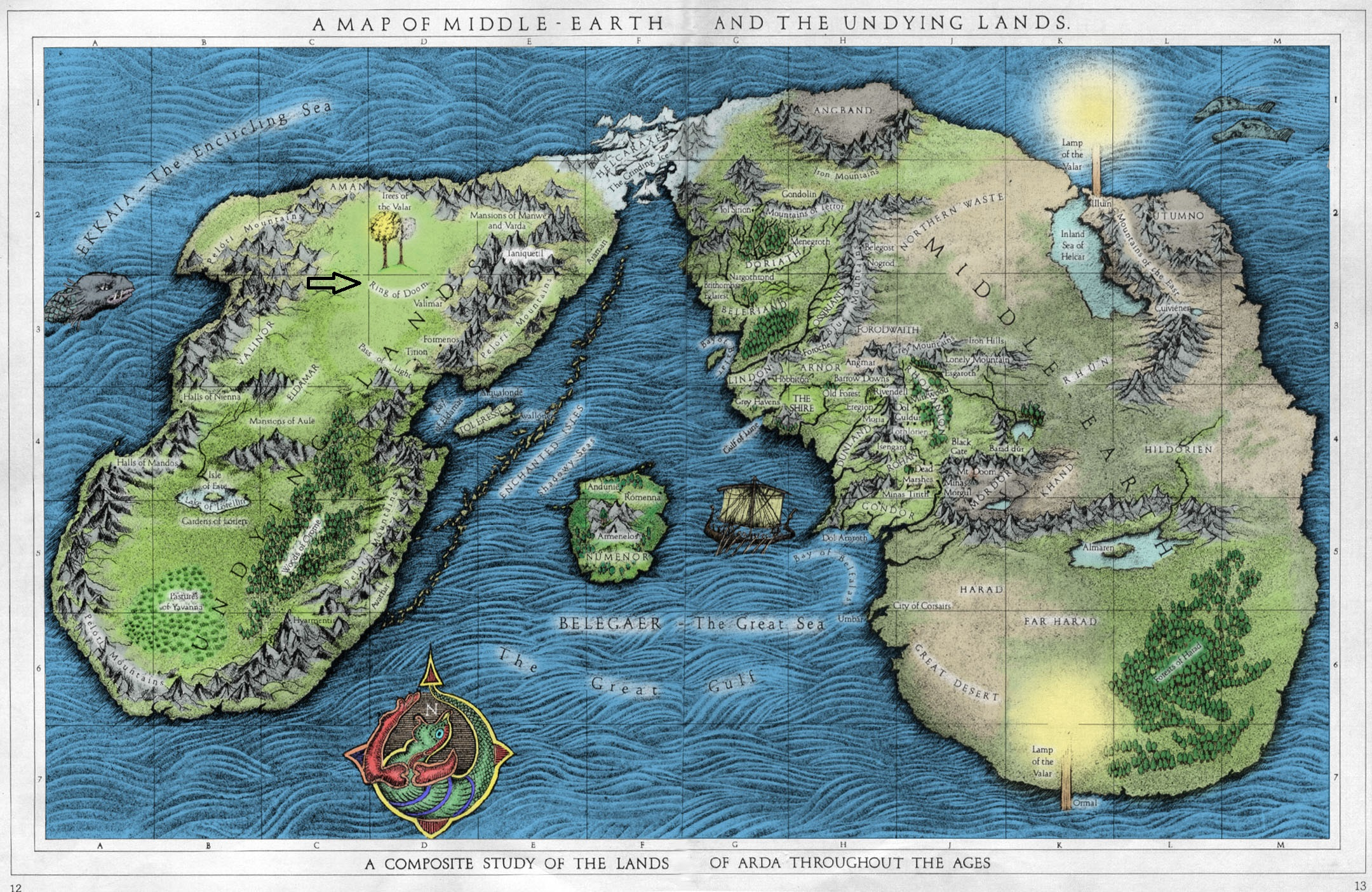 Image A Map of Middleearth and the Undying Lands colorjpg – Full Size Map of Middle Earth