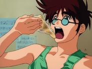 Basara eating pizza
