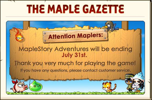 Maple gazette MSA ENDING