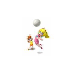 Peach spiking the ball, teaming with Daisy