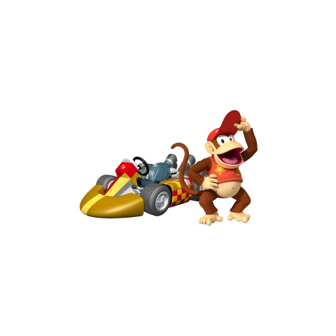 Diddy Kong near his racing kart in<i> <a href=
