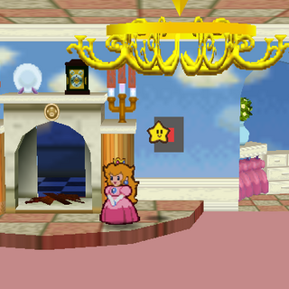 Princess Peach at the entrance to the secret path in her Castle.