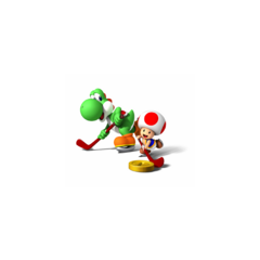 Toad and Yoshi playing Hockey