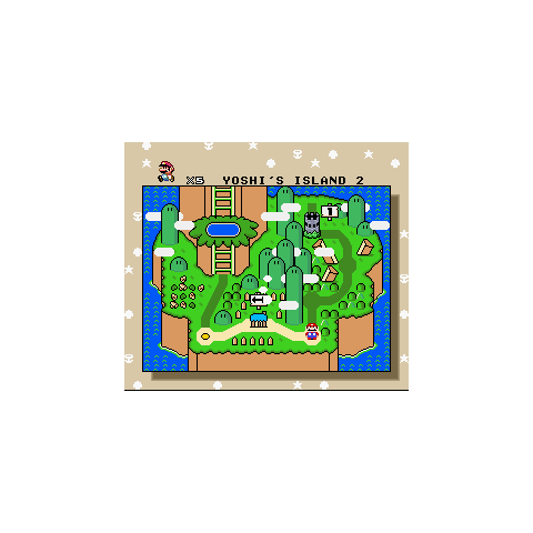 Yoshi's Island 2 in the overworld.
