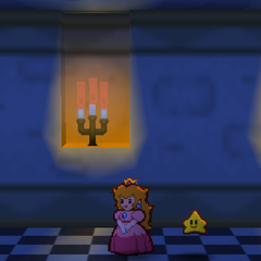 Princess Peach walking through the secret path in her Castle.