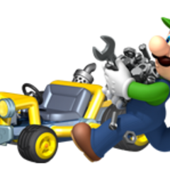 Luigi holding a lot of nuts and bolts and a wrench.