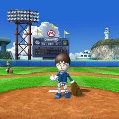 A Mii character in <i>Mario Super Sluggers</i>
