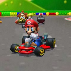 Mario driving a Mario Kart 64-style kart while racing in SNES Mario Circuit 2