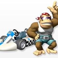 Funky Kong with his kart in <i><a href=
