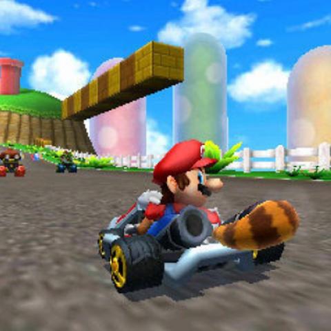Mario using Super Leaf in <i>Mario Kart 7</i>