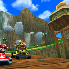 Mario and Bowser, driving past DK's house.